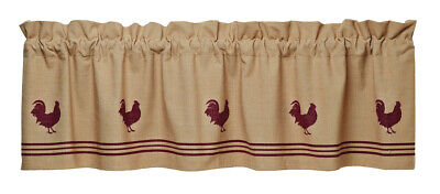 country rustic primitive farmhouse chicken tan & Red Rooster VALANCE curtain