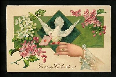Hands Related postcard Valentines Greeting flowers woman dove Finkenrath 7692