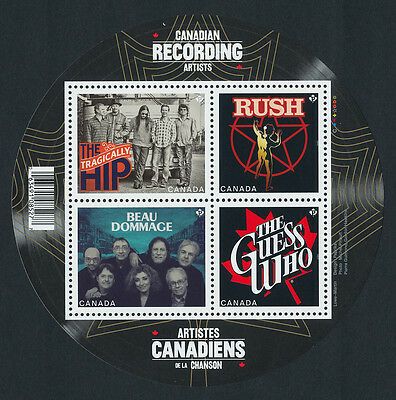 Canada 2655 MNH Music, Recording artists, Rush, Guess Who, Tragically Hip