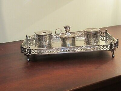 English Sheffield Plate Footed Standish Desk Set  Circa 1840