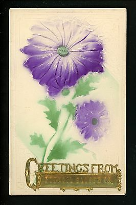 Novelty postcard Metal Add-On Greetings Council Bluffs, Iowa IA embossed flower