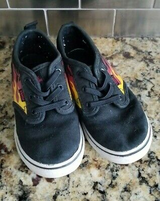 40c4e2f8a1 Vans Black Canvas Red Yellow Flames Pull On Elastic Lace Toddler Size 10