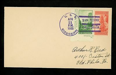 US Naval Ship Cover USS Mississippi BB-41 Pre WWII 4/21/1935 Battleship CA
