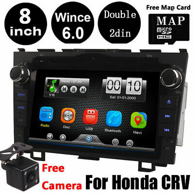 Double 2DIN 8'' Car GPS DVD Stereo Player BT Radio WIFI +CAM for Honda CR-V CRV