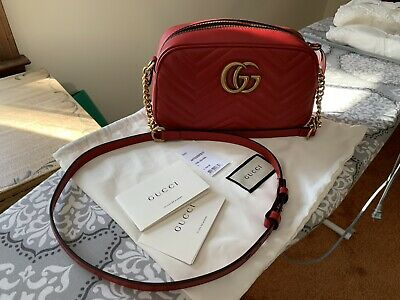 74288fbd92b2 New Gucci GG Marmont Camera Small quilted leather shoulder bag in red