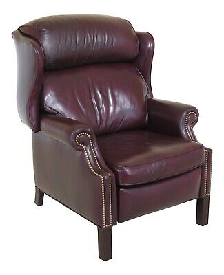 46904EC: HANCOCK & MOORE Burgundy Leather Wingback Recliner Chair
