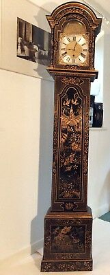 Georgian Chinoiserie Style Black Lacquered Westminster chimes Grandfather clock