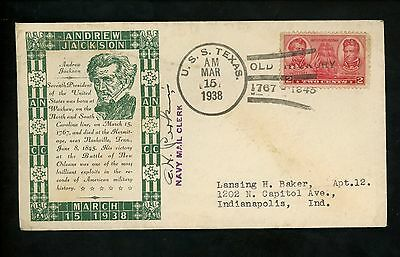 US Naval Ship Cover USS Texas BB-35 Pre WWII 1938 Battleship Old Hickory Jackson