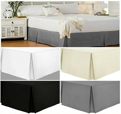 Egyptian Cotton 200 TC Pleated Boxed Base Valance Sheets Single, Double, King