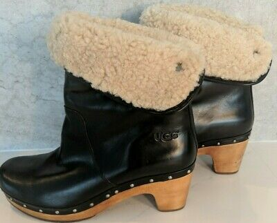 96cf59d2951 UGG LYNNEA BLACK Leather Fold Down Shearling Lined Clog Booties Boots Size  10 M