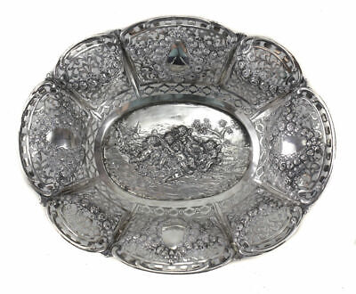 Antique German 800 Silver Pierced Bowl , circa 1900. Repousse Cherubs