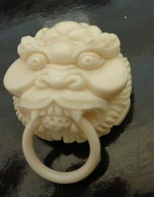 Intricate Chinese Hand Carved  Bovine Bone Miniature Lion Head W/Ring  Scene