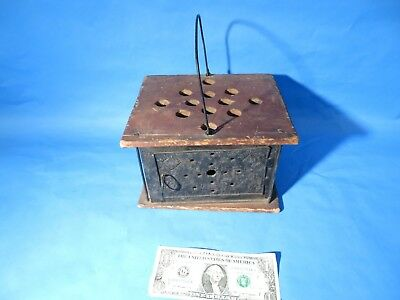 Antique 18th / early 19th Century Primitive Tin Foot Warmer in old RED PAINT