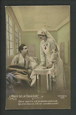 Military postcard WWI French soldier Red Cross Nurse patriotic #1269 Vintage
