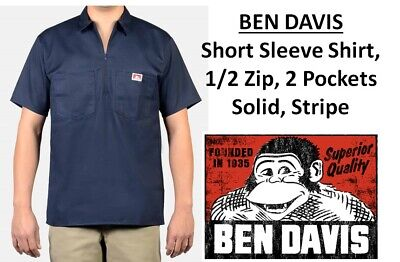 1db3bd3775a BEN DAVIS MEN S Brown 1 2 Zipper Short Sleeve Cotton Blend Shirt ...