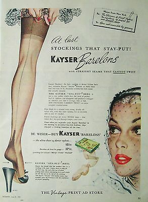 Original KAYSER STOCKINGS 1950s Vintage Print Ad - fashion illustration