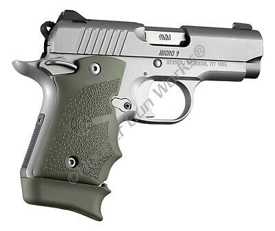 HOGUE GRIPS FOR Kimber Micro 9 Ambi Safety Rubber Finger Grooves OD Green  39081