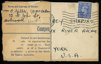 Postal History Great Britain H&G #C65 Registered Reused #262 1940's London to NY