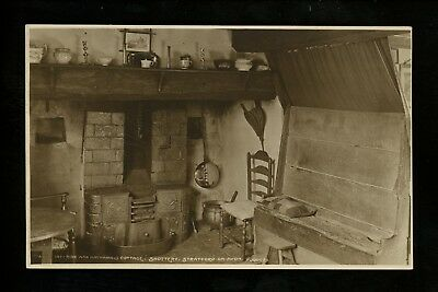 Fireplace real photo postcard RPPC Hastings Stratford Avon Ann Hathaway Cottage