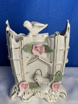 Vintage Bone China Double Fluted Vase Applied Flowers & Bird Doves