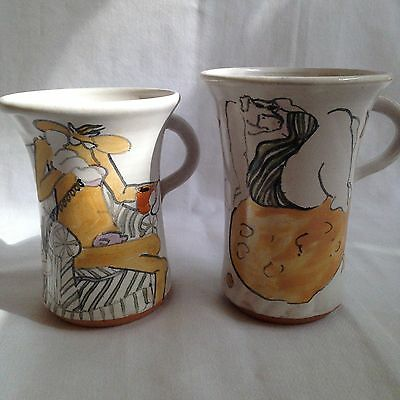 2 Linda Day Hand Made Wheel Thrown Cow Themed Pottery Mugs