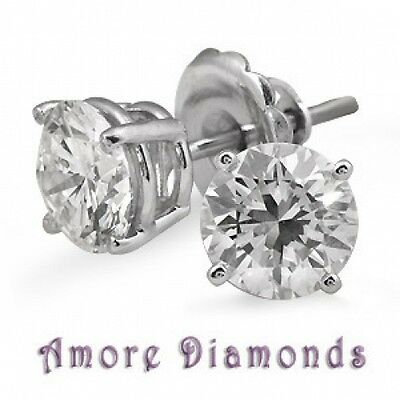 2.14 ct G SI natural round diamond 4prong stud earrings 14k white gold push back