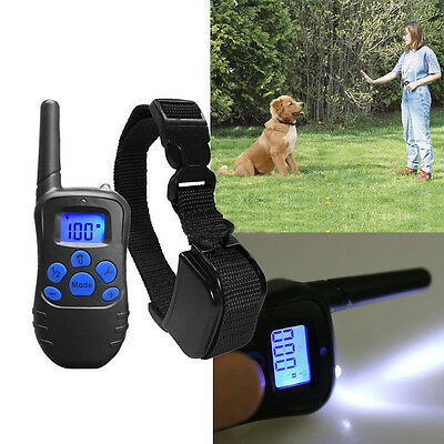 330 Yard LED Electric Shock 1 Dog Training Collar Rechargeable Remote Control LN