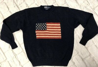 7869e7f4d Polo Ralph Lauren Mens Vintage 100% Wool American Flag Sweater Size L Navy  Blue
