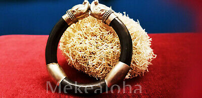 "Good Luck Gift ANTIQUE VINTAGE RARE Thai Elephant BAMBOO RATTAN BRACELET 7"" Smal"