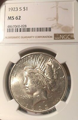 1923-S NGC MS62 Peace Silver Dollar