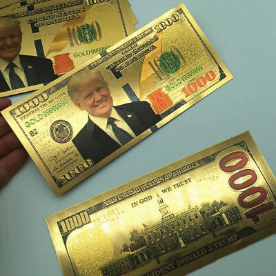 US President Donald Trump New Colorized $1000 Dollar Bill Gold Foil Banknote LN