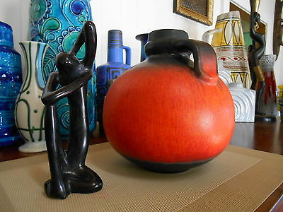 Carstens 1960's fat lava vase, vintage West German pottery, mid century modern