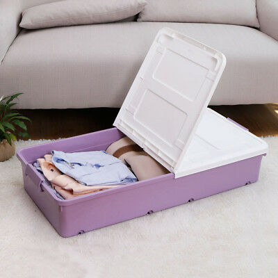 1x Large Under Bed Storage Box Wheeled Plastic Container Lids Clothes Organiser