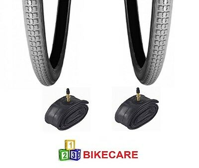 Pair Of Grey 24x1 3/8 Wheelchair/Bike Tyres With Tyre Tubes vc-2803