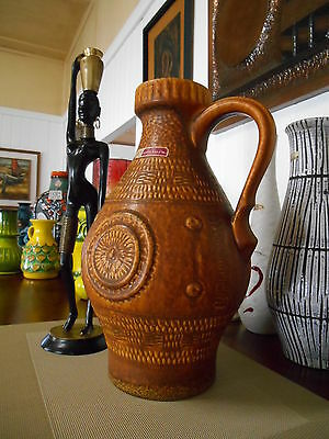 1960's vase, vintage West German pottery by Bay, mid century modern fat lava era