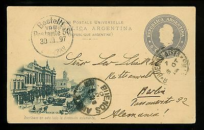 Argentina Postal Card Buenos Aires To Verbo Hungary 1911 Stamps