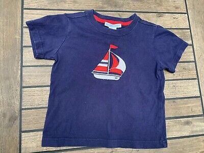 Infant Boys Janie And Jack Beach Bungalow Blue Sailboat Tee Shirt Size 19-24M
