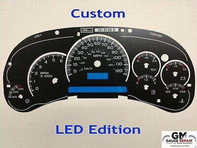 NEW LED Edition Custom Gauge Face Overlay for 2003 04 05 GM Instrument Clusters