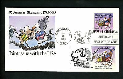 US FDC #2370 Post Official 1988 DC Australia Bicentennial Joint Dual #1052