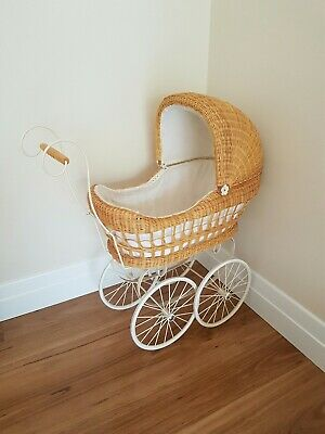 Beautiful white vintage style cane wicker pram stroller for doll or display
