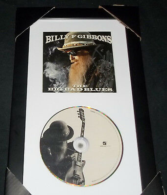 Billy F Gibbons The Big Bad Blues Autographed CD Display- FRAMED & MATTED ZZ TOP