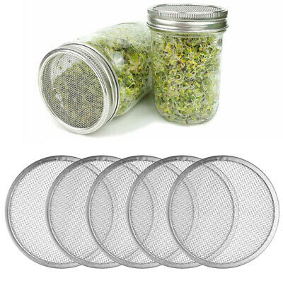 5 Stainless Steel Sprouting Strainer Lid Mesh Filter for Mason Ball Canning Jars
