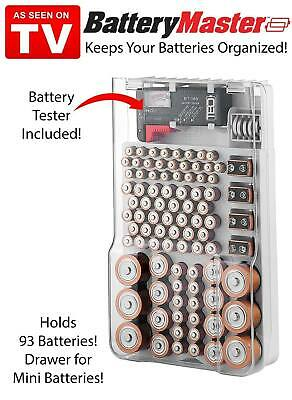 1X Howell Battery Master Organizer With Battery Tester Hold 93 Batteries +Bell