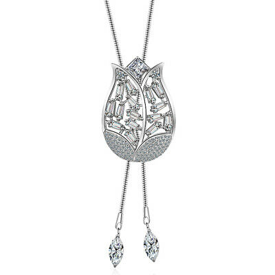 Cubic Zirconia Rose Flower Pendant Long Chain Necklaces Clothing Accessories