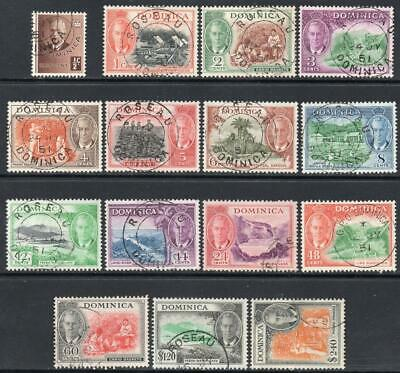 DOMINICA USED 1951 SG120-34 Pictorial Definitive Set
