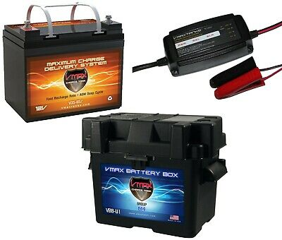 VMAX V30-800 CASE 12V 30Ah AGM 12 VOLT DEEP CYCLE BATTERY BC1204 3.3A CHARGER