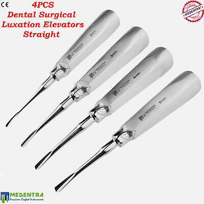 X4 Luxation Instruments Set Root Elevators Oral Surgery Straight 2mm,3mm,4mm,5mm