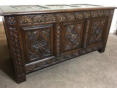 Antique Vintage Heavily Carved Solid Oak Coffer Chest .Delivery Available