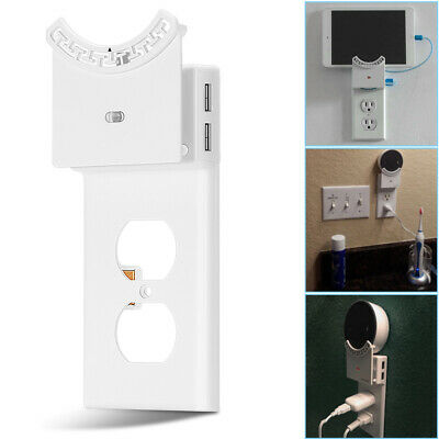 Wall Mount Stand Holder for Alexa 2-USB Outlet Power Charger Plate Night Light