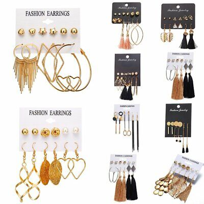 Ladies Women Chic Earrings Set Tassel Crystal Chain Ear Stud Dangle Hook Gifts